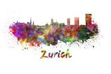 Zurich Skyline in Watercolor Prints by  paulrommer