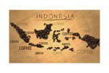 Indonesia Map Coffee Bean Producer on Old Paper Print by  NatanaelGinting