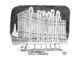 "TITLE ""The DARK UNDERBELLY of VEGAS FOUNTAINS"" a line of whales lie in cha… - New Yorker Cartoon Premium Giclee Print by Benjamin Schwartz"