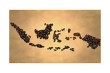 Indonesia Map Coffee Bean on Old Paper Prints by  NatanaelGinting