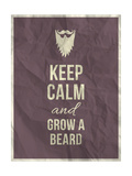 Keep Calm and Grow A Beard Quote on Crumpled Paper Texture Print by  ONiONAstudio