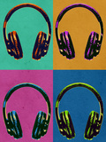 Headphones Vintage Style Pop Art Poster Poster