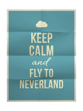 Keep Calm Fly to Neverland Quote on Folded in Eight Paper Texture Prints by  ONiONAstudio