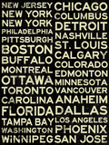 National Hockey League Cities Vintage Style Poster