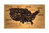 America Map Coffee Bean Producer on Old Paper Poster by  NatanaelGinting