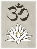 Lotus Meditation AUM Blue White Print Poster Prints