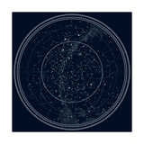 Astronomical Celestial Map of the Northern Hemisphere (Detailed Black Ink Version) Premium Giclee Print by Green Ocean