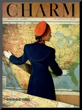 Charm Cover - February 1948 Mounted Print by Hal Reiff