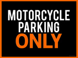 Motorcycle Parking Only Black and Orange Poster Art