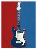 Electric Guitar Red White and Blue Music Poster Print Print