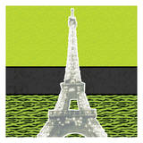 Eiffel Tween Green Prints by Lauren Gibbons