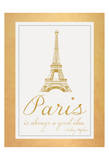 Paris Quote 2 Gold Print by Lauren Gibbons