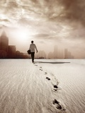 Man Walking in a Desert towards a City Photographic Print by  olly2