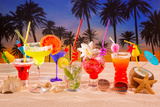 Beach Tropical Cocktails on White Sand Mojito Blue Hawaii on Sunset Palm Trees Photographic Print by  holbox