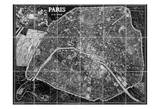 Paris Map (black and white) Prints by Tina Carlson