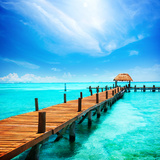 Paradise. Vacations and Tourism Concept. Tropical Resort. Jetty on Isla Mujeres, Mexico,Cancun Posters by Subbotina Anna