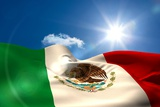 Digitally Generated Mexico Flag Rippling against Blue Sky Photographic Print by Wavebreak Media Ltd