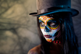 Sugar Skull Girl in Tophat, in the Forest Prints by  Elisanth