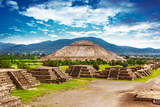 Pyramids of the Sun and Moon on the Avenue of the Dead, Teotihuacan Ancient Historic Cultural City, Photographic Print by Anna Omelchenko