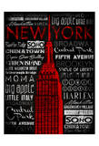 NY Type Red Poster by Jace Grey
