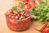 Fresh Hot Raw Salsa with Tomatoes, Onions, Chili and Cilantro Print by  Olgany