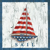 Patriotic Sailboat Print by Geoff Allen