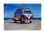 Surf Bus Series - The Groovy Peace VW Bus Giclee Print by Markus Bleichner