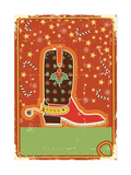 Cowboy  Christmas Card with Boot for Text Prints by  GeraKTV