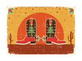 Vintage Cowboy Christmas Card with Boots and Holiday Decoration Print by  GeraKTV