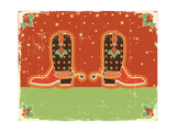 Cowboy Christmas Card with Boots and Holiday Decoration.Vintage Poster Posters by  GeraKTV