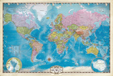 Map of the World with Poles Prints