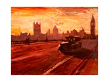 London Taxi Big Ben Sunset with Parliament Print by Markus Bleichner