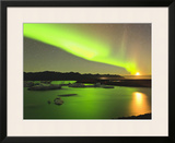 Aurora Borealis and Moon over Icebergs, Jokulsarlon and Breidamerkurjokull, Iceland Framed Photographic Print by Tom Norring