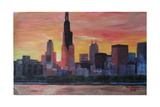 Chicago Skyline at Sunset Posters by Martina Bleichner