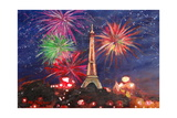 Spectacular Paris France Silvester Fireworks Giclee Print by Martina Bleichner