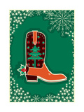Cowboy Christmas Card with Boot Decoration Posters by  GeraKTV