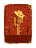 Cowboy Christmas Card for Text.Vintage Poster Art by  GeraKTV