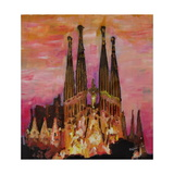Barcelona with Sagrada Familia and Vanilla Sky Giclee Print by Markus Bleichner