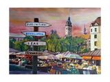 Munich Bavaria Viktualienmarkt with Signposts Giclee Print by Markus Bleichner