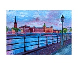 Stockholm City View - Old Town Riddarholmen Giclee Print by Martina Bleichner