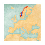 Map of Europe - Norway (Vintage Series) Art by  Tindo