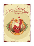Santa Sit on Horseshoe with Cowboy Lasso on Vintage Poster Prints by  GeraKTV