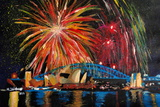 Sydney Australia Silvester with Opera Fireworks Giclee Print by Martina Bleichner