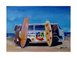 Surf Bus Series - The Lady Flower Power VW Bus Giclee Print by Markus Bleichner