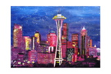 Seattle Skyline with Space Needle at Night Giclee Print by Martina Bleichner