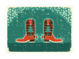 Cowboy Christmas Card with Boots and Holiday Decoration.Vintage Poster Prints by  GeraKTV