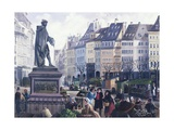 Gutemberg Square in Strasbourg Giclee Print by P. Sellier