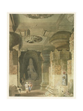 Interior of the Cave Temple of Indra Subba at Ellora Giclee Print by Captain Robert M. Grindlay