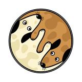 Yin and Yang Design of Two Dogs Sniffing Each Other Print by  Tawng