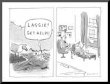 """Lassie! Get help!"" - New Yorker Cartoon Mounted Print by Danny Shanahan"